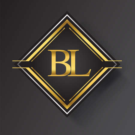 BL Letter logo in a square shape gold and silver colored geometric ornaments. Vector design template elements for your business or company identity. Logó