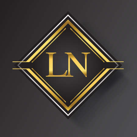 LN Letter logo in a square shape gold and silver colored geometric ornaments. Vector design template elements for your business or company identity.