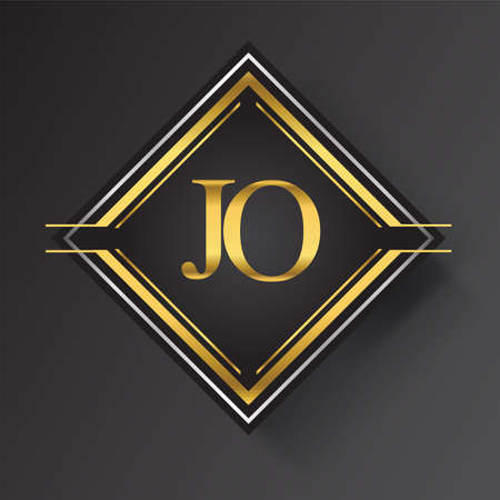 JO Letter logo in a square shape gold and silver colored geometric ornaments. Vector design template elements for your business or company identity.