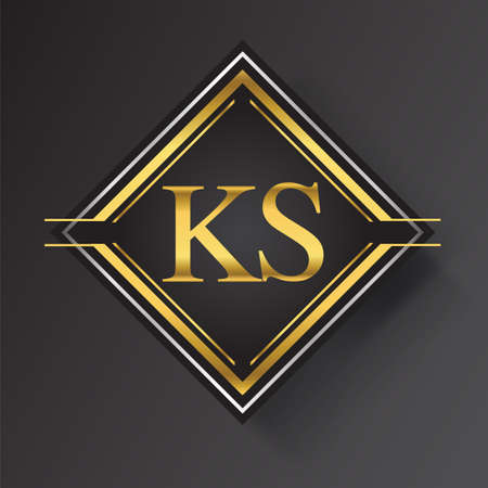 KS Letter logo in a square shape gold and silver colored geometric ornaments. Vector design template elements for your business or company identity. Logó