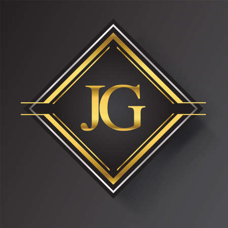 JG Letter in a square shape gold and silver colored geometric ornaments. Vector design template elements for your business or company identity.