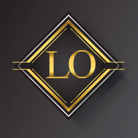 LO Letter   in a square shape gold and silver colored geometric ornaments. Vector design template elements for your business or company identity.