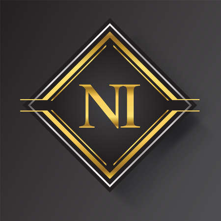 NI Letter logo in a square shape gold and silver colored geometric ornaments. Vector design template elements for your business or company identity.