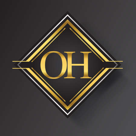 OH Letter logo in a square shape gold and silver colored geometric ornaments. Vector design template elements for your business or company identity. Ilustracja