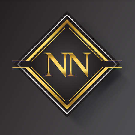 NN Letter logo in a square shape gold and silver colored geometric ornaments. Vector design template elements for your business or company identity.