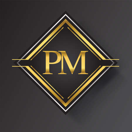 PM Letter logo in a square shape gold and silver colored geometric ornaments. Vector design template elements for your business or company identity.