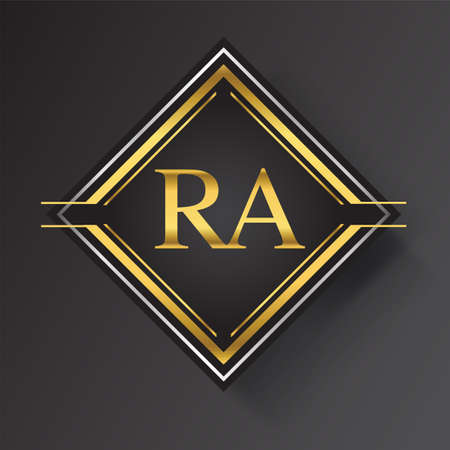 RA Letter logo in a square shape gold and silver colored geometric ornaments. Vector design template elements for your business or company identity. Logo