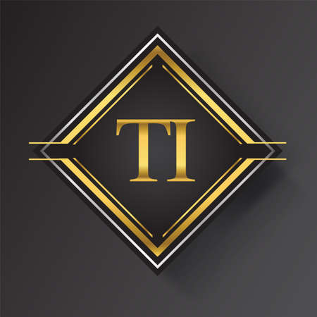 TI Letter logo in a square shape gold and silver colored geometric ornaments. Vector design template elements for your business or company identity.