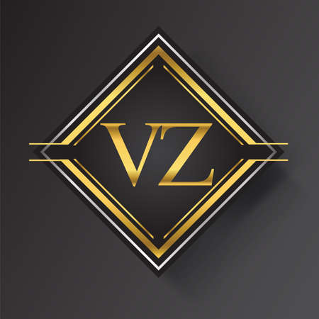 VZ Letter logo in a square shape gold and silver colored geometric ornaments. Vector design template elements for your business or company identity. Logó