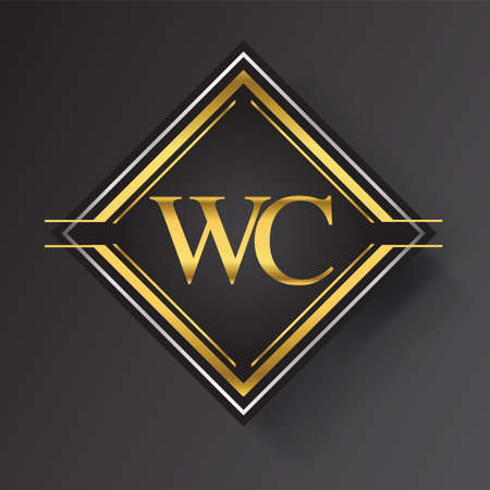 WC Letter logo in a square shape gold and silver colored geometric ornaments. Vector design template elements for your business or company identity.