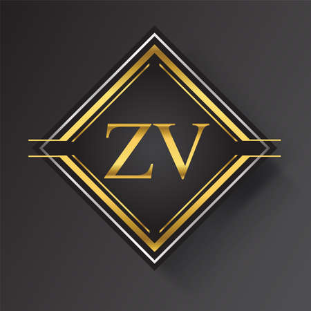 ZV Letter logo in a square shape gold and silver colored geometric ornaments. Vector design template elements for your business or company identity.