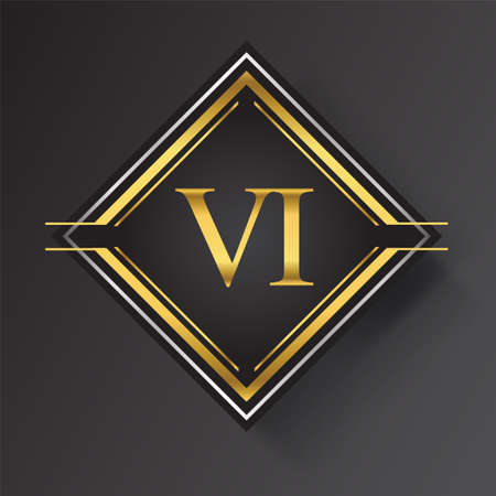 VI Letter logo in a square shape gold and silver colored geometric ornaments. Vector design template elements for your business or company identity. Logó