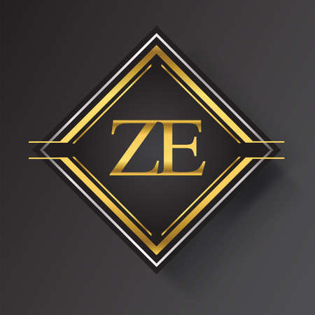 ZE Letter logo in a square shape gold and silver colored geometric ornaments. Vector design template elements for your business or company identity.