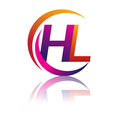 initial letter HL company name orange and magenta color on circle and swoosh design. vector for business and company identity. Vektorové ilustrace