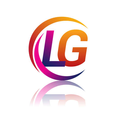 initial letter LG logotype company name orange and magenta color on circle and swoosh design. vector logo for business and company identity.