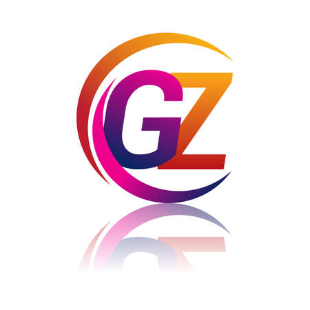 initial letter GZ company name orange and magenta color on circle and swoosh design. vector for business and company identity.