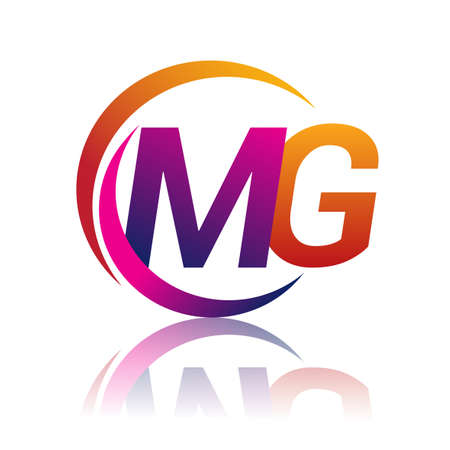 initial letter MG company name orange and magenta color on circle and swoosh design. vector for business and company identity.