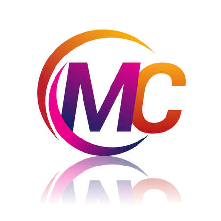 initial letter MC company name orange and magenta color on circle and swoosh design. vector for business and company identity. Ilustracje wektorowe