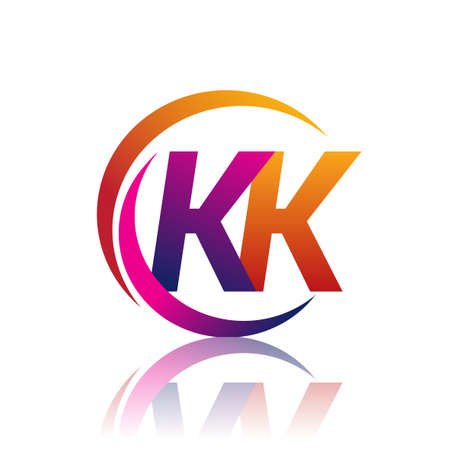 initial letter KK company name orange and magenta color on circle and swoosh design. vector for business and company identity.