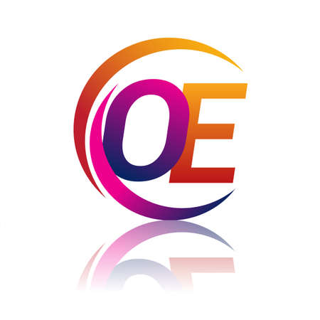 initial letter OE logotype company name orange and magenta color on circle and swoosh design. vector logo for business and company identity.