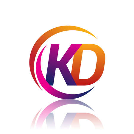 initial letter KD logotype company name orange and magenta color on circle and swoosh design. vector logo for business and company identity.