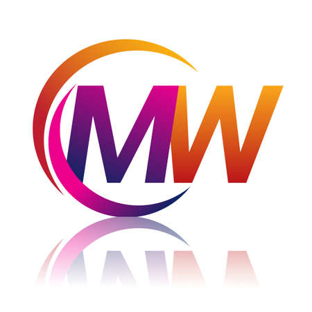 initial letter MW logotype company name orange and magenta color on circle and swoosh design. vector logo for business and company identity. Ilustração