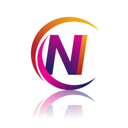 initial letter NI logotype company name orange and magenta color on circle and swoosh design. vector logo for business and company identity.