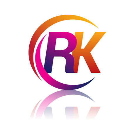 initial letter RK logotype company name orange and magenta color on circle and swoosh design. vector logo for business and company identity.