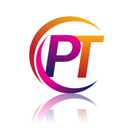 initial letter PT logotype company name orange and magenta color on circle and swoosh design. vector logo for business and company identity. Logó