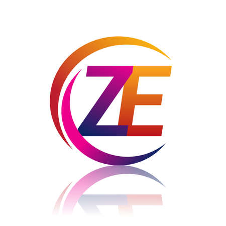 initial letter ZE logotype company name orange and magenta color on circle and swoosh design. vector logo for business and company identity.