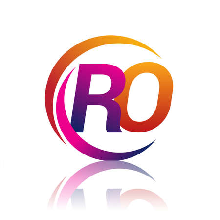 initial letter RO logotype company name orange and magenta color on circle and swoosh design. vector logo for business and company identity.