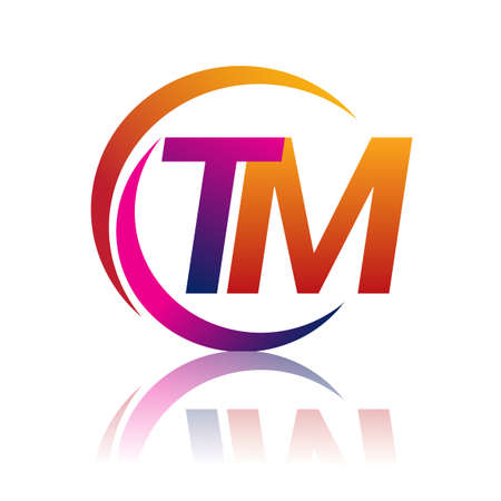 initial letter TM company name orange and magenta color on circle and swoosh design. vector   for business and company identity.
