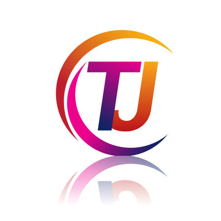 initial letter TJ company name orange and magenta color on circle and swoosh design. vector for business and company identity.