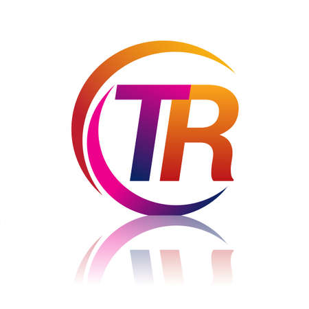 initial letter TR logotype company name orange and magenta color on circle and swoosh design. vector logo for business and company identity.