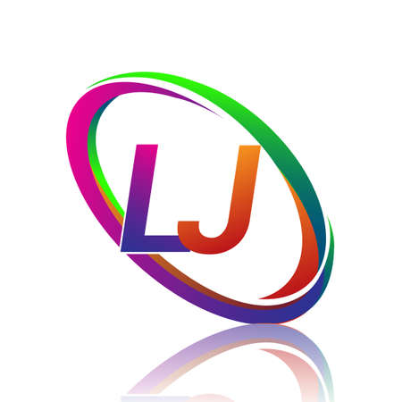 letter LJ logotype design for company name colorful swoosh. vector logo for business and company identity.