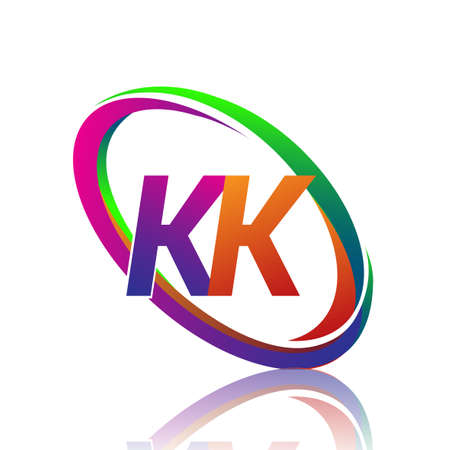letter KK logotype design for company name colorful swoosh. vector logo for business and company identity.
