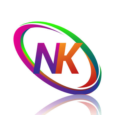 letter NK logotype design for company name colorful swoosh. vector logo for business and company identity.
