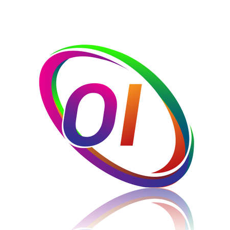 letter OI logotype design for company name colorful swoosh. vector logo for business and company identity.