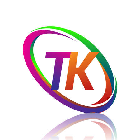 letter TK logotype design for company name colorful swoosh. vector logo for business and company identity.