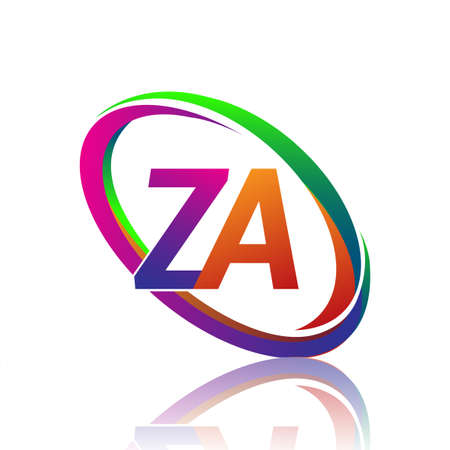 letter ZA logotype design for company name colorful swoosh. vector logo for business and company identity.