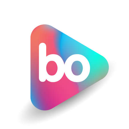 Letter BO logo in triangle shape and colorful background, letter combination logo design for business and company identity.