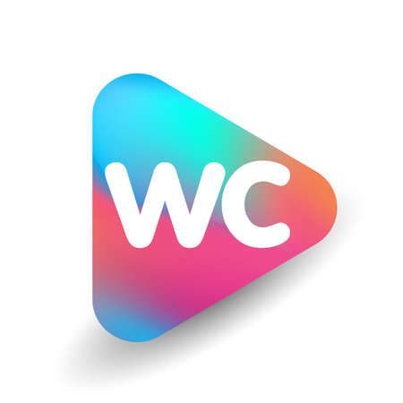 Letter WC   in triangle shape and colorful background, letter combination   design for business and company identity.