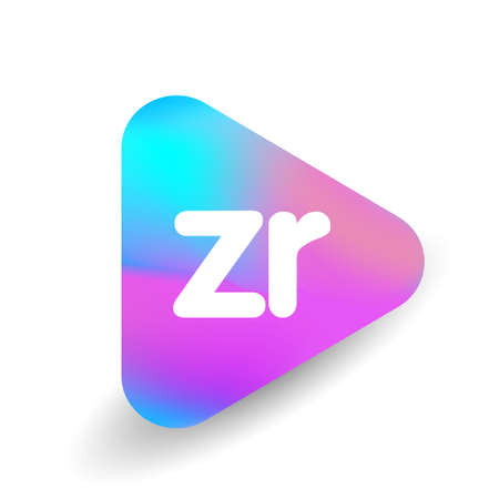 Letter ZR logo in triangle shape and colorful background, letter combination logo design for business and company identity.