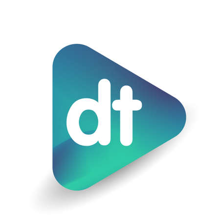 Letter DT logo in triangle shape and colorful background, letter combination logo design for business and company identity.
