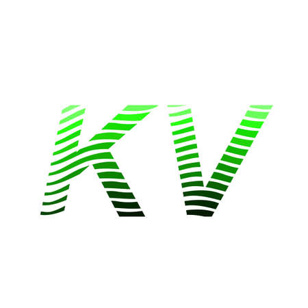 Letter KV logotype with colorful circle, with striped composition letter, business card for company identity, creative industry, web. Logó