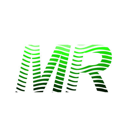 Letter MR logotype with colorful circle, with striped composition letter, business card for company identity, creative industry, web.