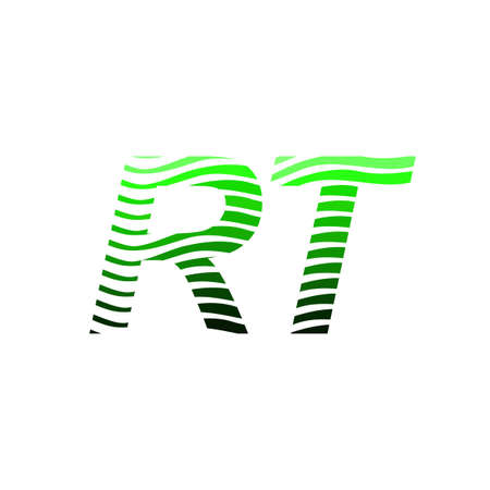 Letter RT logotype with colorful circle, with striped composition letter, business card for company identity, creative industry, web. Logó