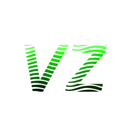 Letter VZ logotype with colorful circle, with striped composition letter, business card for company identity, creative industry, web.
