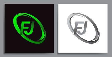 letter FJ logotype design for company name colored Green swoosh and grey. vector set logo design for business and company identity.