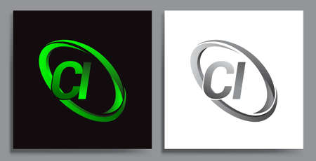 letter CI logotype design for company name colored Green swoosh and grey. vector set logo design for business and company identity. Illusztráció